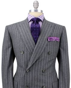 Gangsta chalk stripe. Managing Directors only need apply.   Belvest Grey with Chalk Stripe Double Breasted Suit