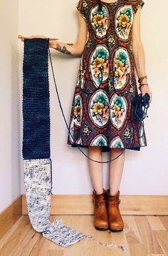 Whimsical dress and iknitted ( or crochet it girls !) scarf in complementery colors !!!