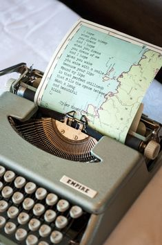 Love the idea of typing poetry and an old map. -- could type family stories on maps for heritage scrapbook.Now where do I find a typewriter? Mini Album Scrapbook, Couple Scrapbook, Wedding Scrapbook, Scrapbook Cards, Vancouver Photos, Map Crafts, Crafts With Maps, Wedding Photo Gallery, Map Globe