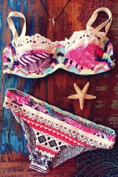 Lagun - bikini - pink - cute - aztec - colors