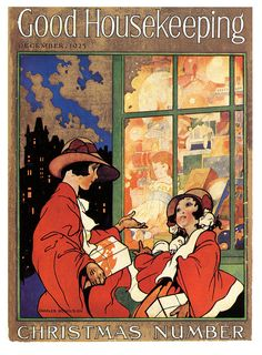 Window Shopping At Christmas by Charles Robinson, Good Housekeeping magazine cover, December 1925. #vintage #1920s #Christmas