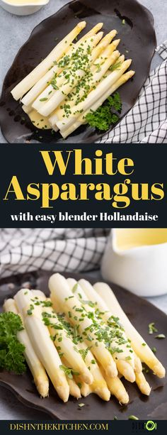 White Asparagus with Hollandaise. Learn how to prepare, cook, and enjoy this seasonal classic side dish with an easy blender hollandaise sauce. Fruit Dishes, Vegetable Side Dishes, Roasted Vegetables, Fruits And Veggies, Easy Meal Prep, Easy Meals, Side Dish Recipes, Easy Recipes, Main Course Dishes