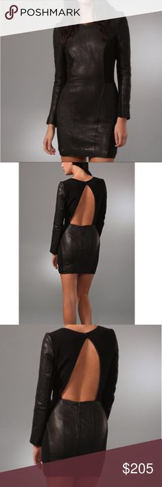 """Dolce Vita Leather Dress, long sleeves, Open back. Dolce Vita, Connie, S .Real Leather Dress. This crew-neck pebbled-leather dress features seam detailing and jersey panels. Snap closure and hidden zip at cutout back. Subtle distressing. Long sleeves. Lined.  * 31"""" long, measured from shoulder. * Fabrication: Pebbled leather/mid-weight jersey. * Shell: 100% leather. * Combo: 70% cotton/24% nylon/6% spandex. * Lining: 97% polyester/3% spandex. * Professional leather clean. * Imported. Style…"""