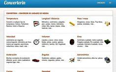 Converterin es una página de uso gratuito, e íntegramente en español, que nos va a ser de utilidad para convertir entre todo tipo de unidades de medida.