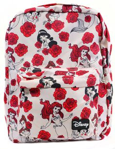 Limited Disney Princess Roses Canvas Zipper School Backpack by Loungefly Disney Style, Disney Love, Disney Magic, Disney Pixar, Walt Disney, Disney Fantasy, Disney Merchandise, Disneybound, School Backpacks