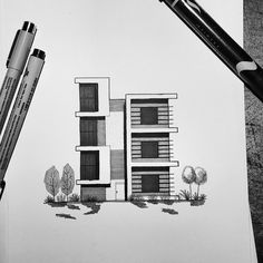 Another modern architectural facade view This time I tried experimentin Interior architecture drawing Architecture concept drawings Architecture design sketch