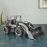 Upcycled auto parts statuette, 'Rustic Payloader' - Recycled Auto Parts Eco Friendly Metal Sculpture from Mexico Metal Sculpture Artists, Steel Sculpture, Art Sculptures, Sculpture Ideas, Welding Art Projects, Metal Art Projects, Welding Crafts, Metal Crafts, Miller Welding Helmet