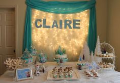 Lovely Frozen birthday party! See more party planning ideas at CatchMyParty.com!