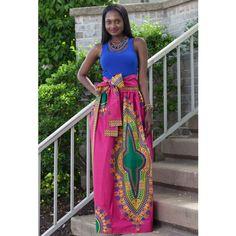 Dashiki African Print Maxi Skirt (Pink) ~African fashion, Ankara, kitenge, African women dresses, African prints, Braids, Nigerian wedding, Ghanaian fashion, African wedding ~DKK