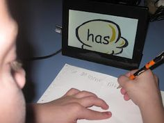 use a digital picture frame for word work- Or Lots of things! Very cool idea!