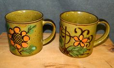 6 Coffee Cups Mugs Mid Century Vintage 1970s Green Orange Avocado Olive Six  Retro Soup Tea CrabbyCats Crabby Cats - pinned by pin4etsy.com