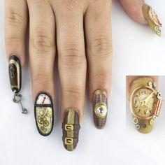 Visit the post for more. Bling Nail Art, Bling Nails, Stiletto Nails, Coffin Nails, Fun Nails, Steampunk Nails, Steampunk Fashion, Nail Piercing, Fingernails Painted