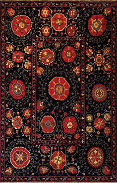 Indian Night Suzani (red - Suzani design 7) by A Rug For All Reasons | This dramatic and very cheerful rug has a romantic, folkloric feel. These wonderful Suzani (Souzani) designs trace their origins back several centuries to the great folk art of Uzbekistan.