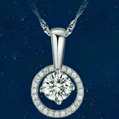 New Silver necklace New silver necklace whit brigth diamond in the middle very cute 16 in long Jewelry Necklaces