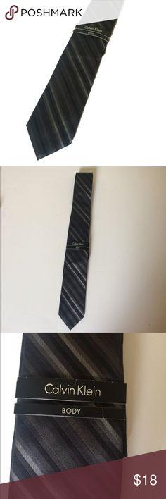 Calvin Klein Slim Silk Tie Calvin Klein Silk  Slim style  Silver and black stripes  NWT Calvin Klein Accessories Ties