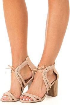 7b403f506f Light Taupe Faux Leather High Heels with Braided Detail Dark Tan, Leather  High Heels,