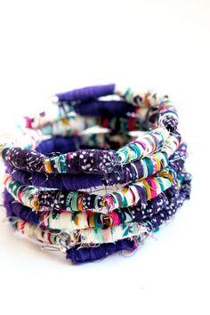 Little tiny pieces of scrap fabric into a beautiful bracelet!