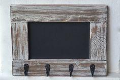 Entryway Chalkboard Frame Key Holder, Rustic Chalkboard Coat Rack, Framed Chalkboard Mudroom Hooks, Entryway Chalkboard Organizer