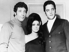 Elvis, Priscilla, and Tom Jones after Tom's performance in The Flamingo hotel in Las Vegas