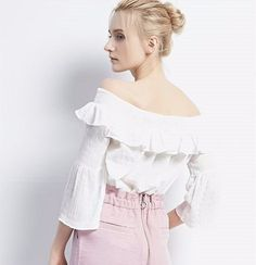 2017 Spring New Chiffon Shirt Word Collar Horn In The Sleeves Exposed Shoulder Lotus Leaf Shirt Blouse - Buy T-shirt,Girls Top,Chiffon Shirt Product on Alibaba.com