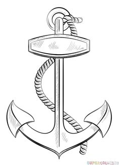How to draw an anchor with rope step by step. Drawing tutorials for kids and beginners.
