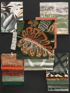 2018 AUTUMN-WINTER - Casamance Mood Board Interior, Art Chinois, Fabric Board, Casamance, Interior Design Sketches, Art Premier, Graffiti Wallpaper, Art Japonais, Textiles