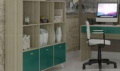 Conjunto Home Office com Estante, Mesa para Computador, Mesa, Cadeira e Poltrona Ártico/Turquesa/Creme/Branco/Castanho - Caaza | Lojas KD