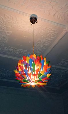 Rainbow   Multi Colored Paper Cone Pendant Light   Hanging Lighting,  Ceiling Light, Kids