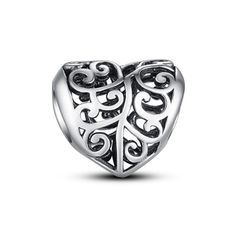 """Silver openwork heart charm #Glamulet jewelry,fits all brands bracelet. Wonderful gifts for family, lover, friends...Get 5% off on www.glamulet.com with coupon code """"PIN5"""""""