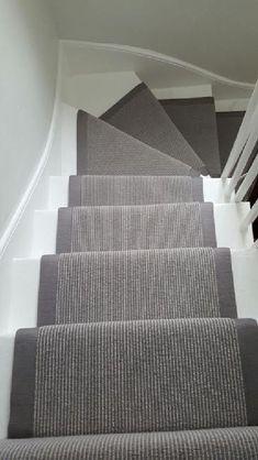 Grey Stair Runner Grey Carpet Runner to Stairs: Painted Staircases, Painted Stairs, Spiral Staircases, Curved Staircase, Carpet Stair Treads, Carpet Stairs, Stair Carpet Runner, Hall Carpet, Staircase Runner