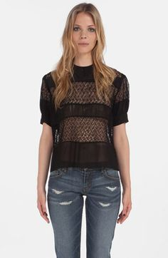 maje 'Daba' Embroidered Sheer Blouse available at #Nordstrom