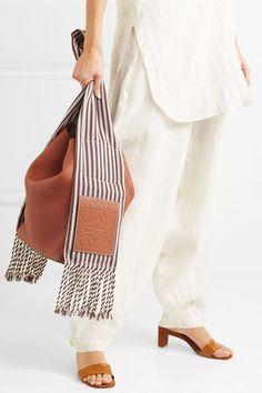 Loewe | Scarf striped cotton-trimmed textured-leather shoulder bag | NET-A-PORTER.COM