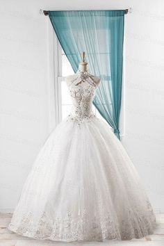 White Lace Ball Gown Halter Neckline Floor Length by SpcialDresses, $279.99