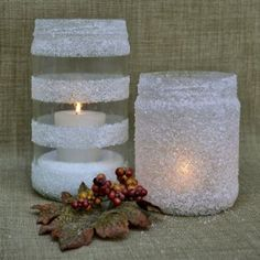 Winter candle decor. This would be so cute done 'snow frosted' with a clear snow flake on the front. Definitely doing this!