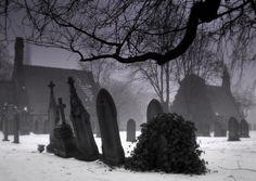 tomb stones in winter