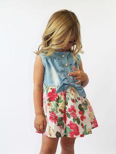 Vintage denim & rose shirt dress - Rocker by bébé