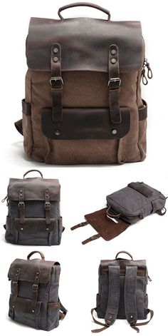2ca8fff06812 So cool backpack ! Vintage Large Laptop Thick Canvas Travel Rucksack Bag  Splicing Leather Outdoor Backpacks