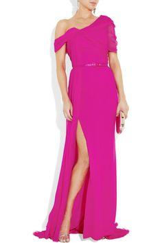 Oscar fuchsia gown www.stilettosmagazine.com