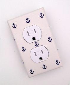 Anchor Outlet Cover / Nautical Nursery Decor / Baby Boy / Bathroom / White and Navy Blue. $10.00, via Etsy.