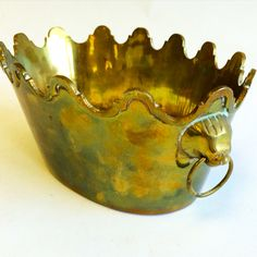 Brass lion head planter  PKL the CELLAR  Parker Kennedy Living