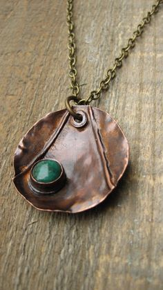 Fold Formed Necklace Turquosie and Copper by CopperTreeArt on Etsy, $32.00