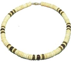 "Native Treasure - Coco Bead Necklace Blond Coco 3 Dark Puka Shell Surfer Hawaiian Choker Surfer Puca Beads Pooka - 8mm (5/16) - 18 Inch by Native Treasure. $11.95. This Native Treasure Authentic Tropical Jewelry Coco Shell Necklace is Beautifully Hand-crafted in our Tropical Jewelry Shop by our own Native Island Artisans using 8mm (5/16"") Hand-Sorted Class 'A' Quality Coco Beads. (not for water use)  .....It is our standard 18"" length and is ideal for Men, Women, Bo..."