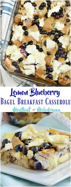This Lemon Blueberry Bagel Breakfast Casserole combines leftover bagels with cream cheese, lemon and blueberries for an easy make ahead breakfast or brunch!