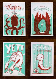 Monster Friends 4 Poster Set with Illustrations by Alex Pearson, Julian Baker, Jeff Kandefer and Andy Young