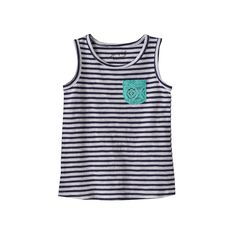 Toddler Girl Jumping Beans® Crochet Lace Chest Pocket Striped Tank Top, Size: 4T, Blue