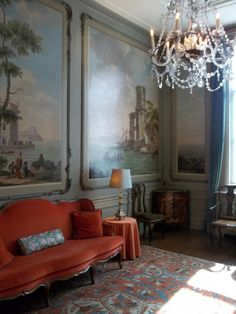 "baby blue and rust, Painted panels in the 18th century ""Drakestein-room"" of ""Huis Van Loon"" 