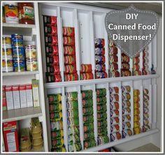 DIY Canned Food Dispenser! Aside from saving space or getting more space for a small pantry, this dispenser also allows for a hassle-free access to your canned goods. The labels are exposed, plus you don't have…