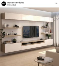 Favorite rack idea- Ideia de rack favorita Favorite rack idea - Amanda – Tables and desk … Living Room Wall Units, Living Room Tv Unit Designs, Living Room Sets, Living Room Modern, Living Room Interior, Rugs In Living Room, Ikea Tv Wall Unit, Living Room Decor With Tv, Tv Wall Unit Designs