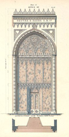 New York - Design for a cast iron office facade Gothic Revival century Cathedral Architecture, Revival Architecture, Islamic Architecture, Architecture Drawings, Gothic Architecture, Classical Architecture, Historical Architecture, Architectural Prints, Architectural Antiques
