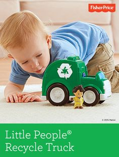 Watch your little one light up with excitement – just like when the real recycling truck comes! Roll the Little People® Recycling truck along to pick up trash, deposit it in the receptacle and hear a song. Ages 1-5 years.
